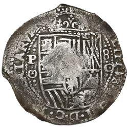 Potosi, Bolivia, cob 8 reales, 1650O (modern 5), with crowned-G countermark (rare) on cross.