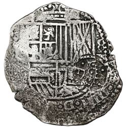 Potosi, Bolivia, cob 8 reales, 1651E, crowned-dot-F-dot countermark (four dots) on shield.
