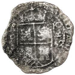Potosi, Bolivia, cob 8 reales, 1652E Transitional Type VII/A, Mastalir Plate Coin.