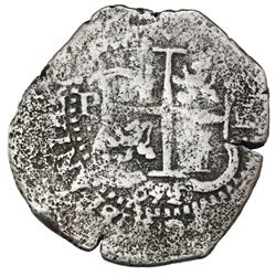 Potosi, Bolivia, cob 8 reales, 1652E post-transitional (Transitional Type VIII/B), 1-PH-6 at top, ex