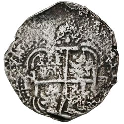 Potosi, Bolivia, cob 8 reales, 1654E, dot-PH-dot at top, pomegranate above cross.