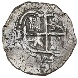 Potosi, Bolivia, cob 4 reales, 1654E, dot-PH-dot at top, ex-Armstrong.