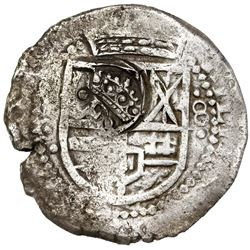 Potosi, Bolivia, cob 8 reales, (16)49O, with crowned-dot-F-dot (two dots) countermark on shield.