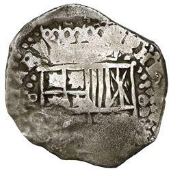 Potosi, Bolivia, cob 8 reales, 164(9)O, with crowned backwards-L countermark (very rare) on cross.