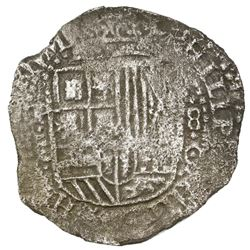 Potosi, Bolivia, cob 8 reales, (16)51O, with crowned-L countermark on cross.