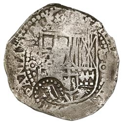 Potosi, Bolivia, cob 8 reales, (1650-1)O, with two countermarks (rare): crown alone (common variety)