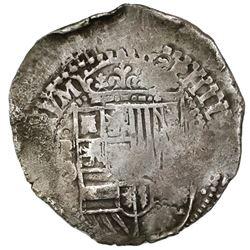 Potosi, Bolivia, cob 8 reales, 16(50-1)O, with crowned-O countermark on cross.