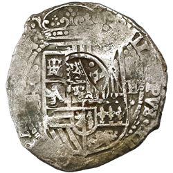 Potosi, Bolivia, cob 8 reales, 1651E/O, with crowned-dot-F-dot countermark on shield.