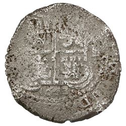 Potosi, Bolivia, cob 8 reales, 1653E, four-digit date below cross.