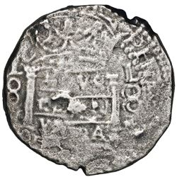 """Lima, Peru, cob 8 reales, """"Star of Lima"""" type, (1660)V, very rare, Seliger Plate Coin."""