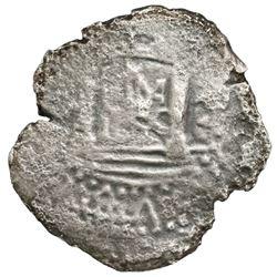 """Lima, Peru, cob 2 reales, """"Star of Lima"""" type, 1659V, very rare."""