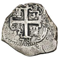 Potosi, Bolivia, cob 4 reales, 1678E, Seliger Plate Coin.