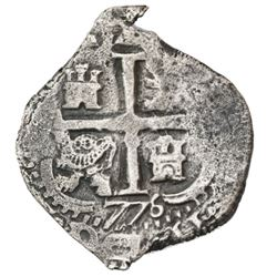 Potosi, Bolivia, cob 2 reales, 1677+76E.