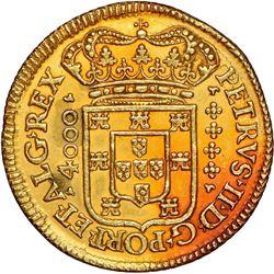 "Lisbon, Portugal, gold moeda (4800 reis, denomination as ""4000""), Pedro II, 1695/89 (unlisted overda"