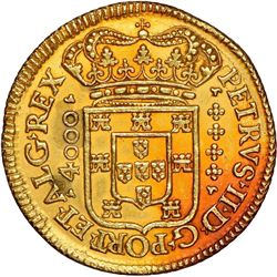 "Lisbon, Portugal, gold moeda (4800 reis, denomination as ""4000""), Pedro II, 1695/89 (unlisted overda"