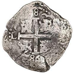 Lima, Peru, cob 8 reales, 1686R, ex-Jones (Plate Coin).