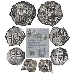 Denomination set of four Potosi, Bolivia, cob 8, 4, 2 and 1 reales (1698F, 1702Y, 1688VR and 1690VR