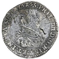 Tournai, Spanish Netherlands, portrait ducatoon, Philip IV, 1665, rare, ex-Jones.