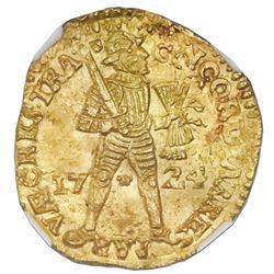Utrecht, United Netherlands, gold ducat, 1724, NGC MS 63 / Akerendam (designated on label), ex-Jones