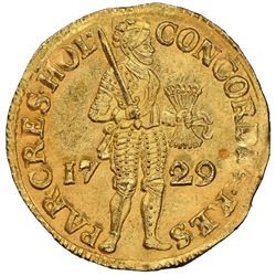 Holland, United Netherlands, gold ducat, 1729, NGC MS 65 / Vliegenthart (designated on label).
