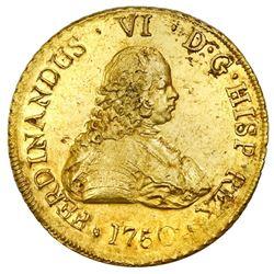 Santiago, Chile, gold bust 8 escudos, Ferdinand VI, 1750J.