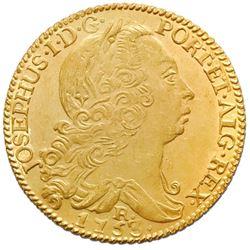 Brazil (Rio mint), gold 6400 reis, Jose I, 1753-R, NGC UNC details / saltwater damage / Clive of Ind