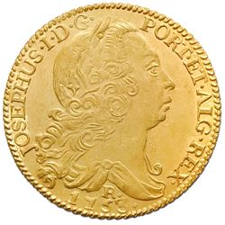 Brazil (Rio mint), gold 6400 reis, Jose I, 1753-R, NGC UNC details / saltwater damage / Clive of Ind