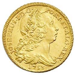 Lisbon, Portugal, gold peca (6400 reis or 4 escudos), Jose I, 1753.