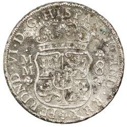 Mexico City, Mexico, pillar 8 reales, Ferdinand VI, 1754MM, dissimilar crowns, ex-Jones.