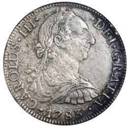 Mexico City, Mexico, bust 8 reales, Charles III, 1783FF, NGC El Cazador / genuine, ex-Jones.