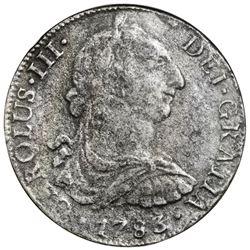 Mexico City, Mexico, bust 8 reales, Charles III, 1783FF, NGC El Cazador / genuine.