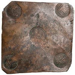 """Sweden (Avesta mint), copper 2 daler """"plate money,"""" Fredrik I, 1750."""
