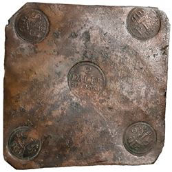 "Sweden (Avesta mint), copper 2 daler ""plate money,"" Fredrik I, 1750."