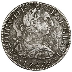 Mexico City, Mexico, bust 8 reales, Charles III, 1780FF, ex-Jones.