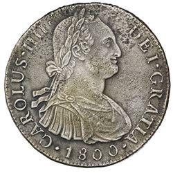 Lima, Peru, bust 8 reales, Charles IV, 1800IJ.