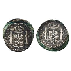 Clump of three Lima, Peru, bust 8 reales, Charles IV, 1800IJ.