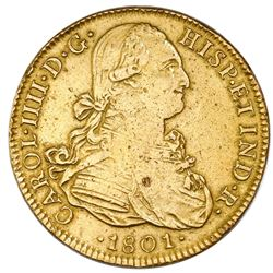 Mexico City, Mexico, gold bust 8 escudos, Charles IV, 1801FT.