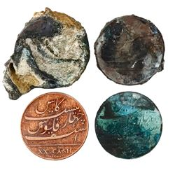 Two small, encrusted (as found) stacks of nine and three English East India Co. copper XX cash, 1808