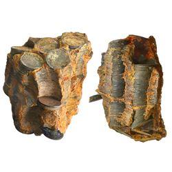 Massive clump of 500(+/-) English East India Co. copper X cash, 1808, in original stacks in encrusta