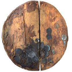 Wooden cask base encrusted with six English East India Co. copper X cash, 1808.