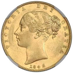 Great Britain (London, England), gold sovereign, Victoria (young head), 1842, NGC AU 50 / SS New Yor
