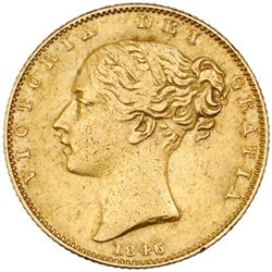Great Britain (London, England), gold sovereign, Victoria (young head), 1846, ex-Sebring.