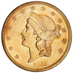 "USA (San Francisco mint), gold $20 Coronet Liberty ""double eagle,"" 1857-S, no serif, high S, PCGS AU"