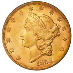 "USA (San Francisco Mint), gold $20 Coronet Liberty ""double eagle,"" 1863-S, PCGS AU58 / Brother Jonat"