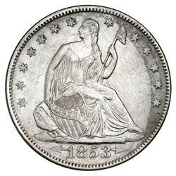 USA (Philadelphia mint), Seated Liberty half dollar, 1853, arrows and rays, NGC SS Republic / Shipwr