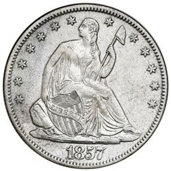 USA (New Orleans mint), Seated Liberty half dollar, 1857-O, date in rock variety, NGC SS Republic /