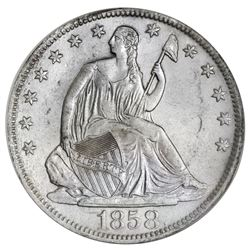 USA (New Orleans mint), Seated Liberty half dollar, 1858-O, 8 in rock variety, NGC SS Republic / Shi