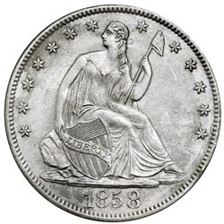 USA (New Orleans mint), Seated Liberty half dollar, 1858-O, NGC SS Republic / Shipwreck Effect.