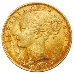 Great Britain (London, England), gold sovereign, Victoria (young head), 1864, die 23, NGC AU details