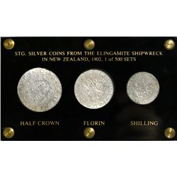 Lot of three Great Britain silver coins of Victoria (halfcrown, florin, shilling) in Lucite display,